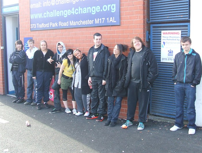 The group at Challenge 4 Change indoor obstacle course in Trafford Park