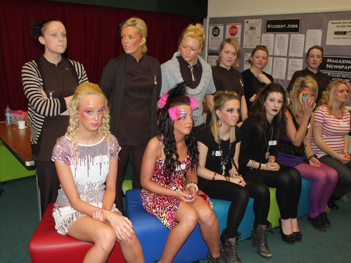 The line up of models and make-up