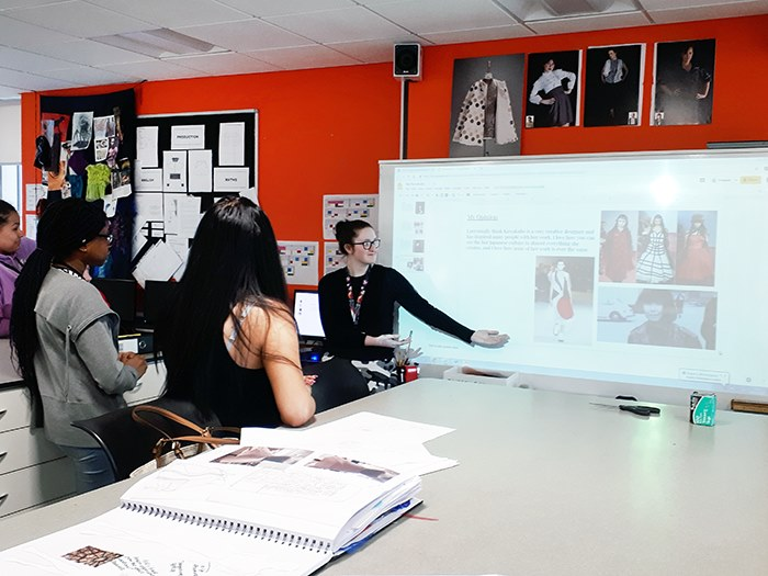 Students discussing female fashion designers