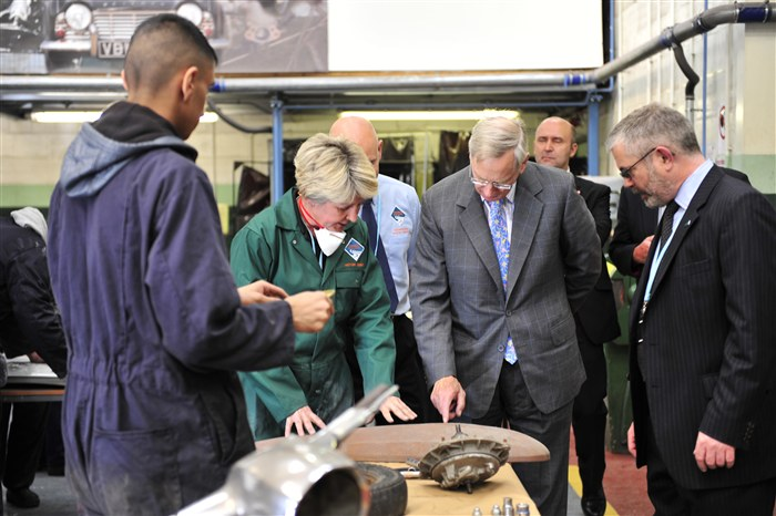 HRH visits the Motor Vehicle workshop