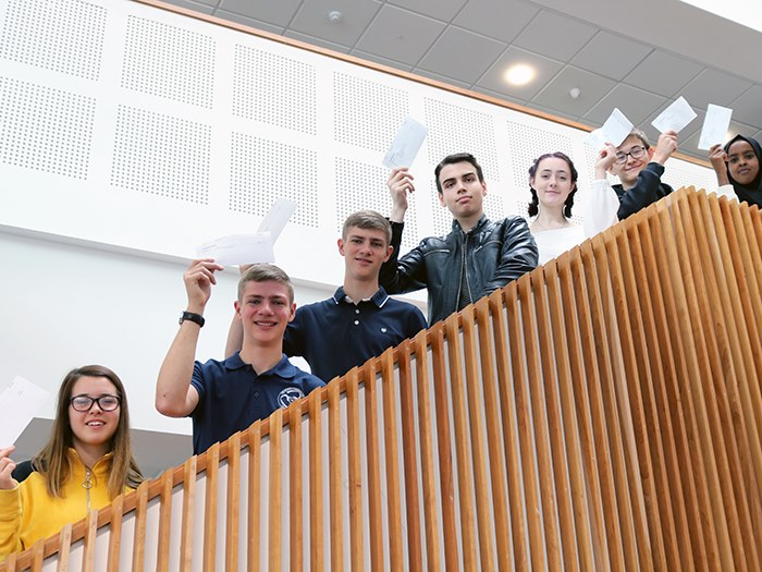 Students celebrate the college's best results ever