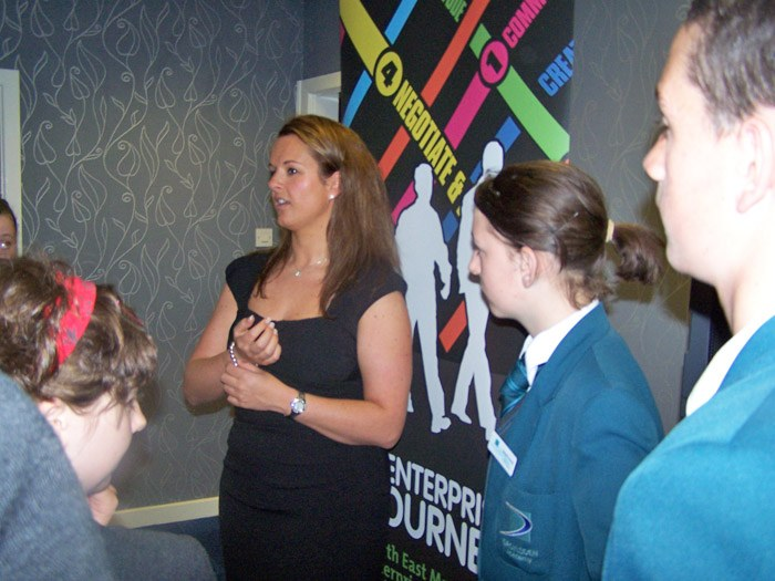 Claire speaking to students from local primary and secondary schools.