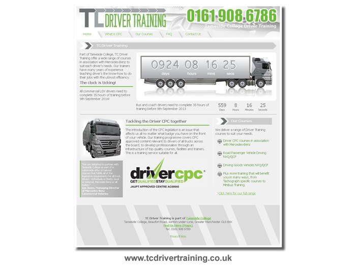 Tameside College Driver Training Website