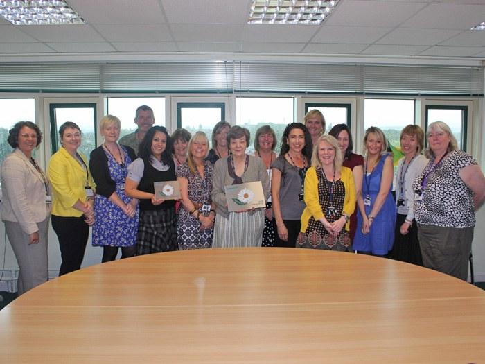 Deputy Principal, Jenny Worsdale (centre) with the Health & Social Development team.