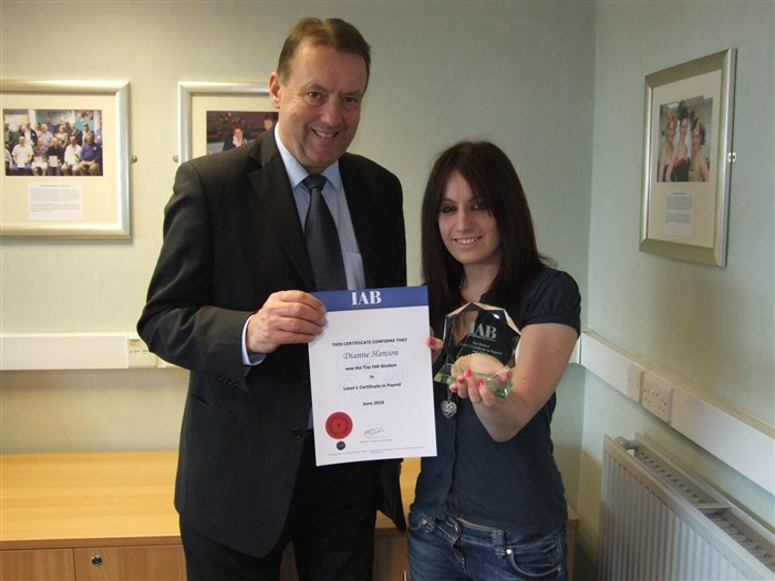 Student of the year Dianne Hanson collecting her award