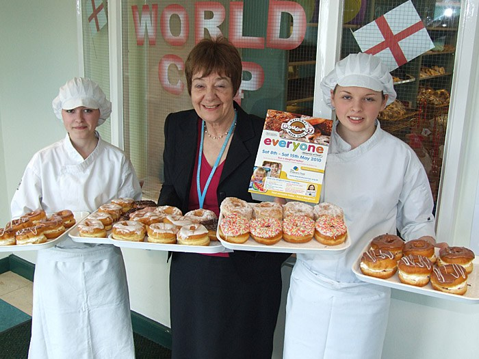 Deputy Principal, Jenny Worsdale with Bakery students during Doughnut Week!