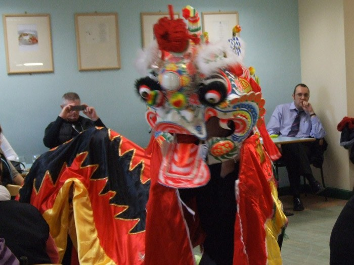 The dragon performing the lion dance