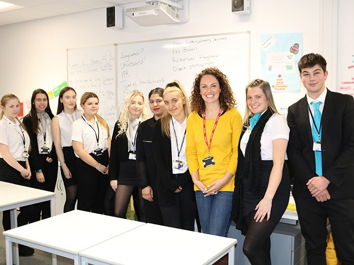 Sophie with travel and tourism students