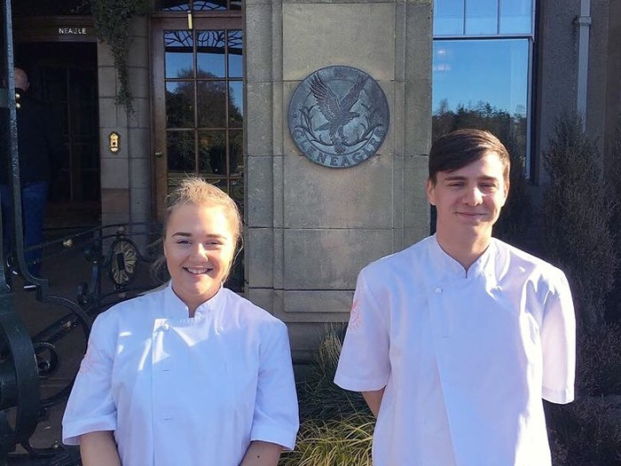 Holly with fellow student George at Gleneagles