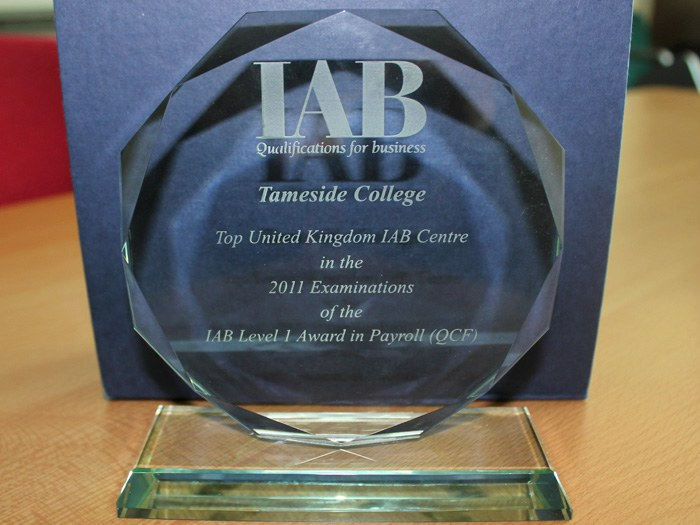 The award for Top UK Centre in the examination of the Level 1 Award in Payroll.