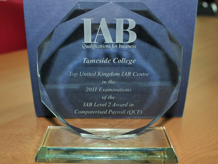 The award for Top UK Centre in the examination of the Level 2 Computerised Payroll.