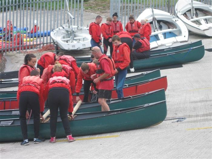 Students prepare their rafts