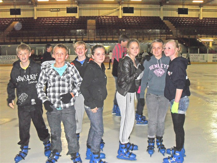 Year 9 pupils at Altrincham Ice Rink.