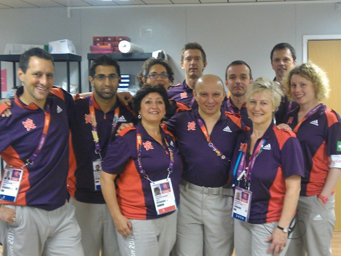 Maria with the offical London Olympic Medical Team