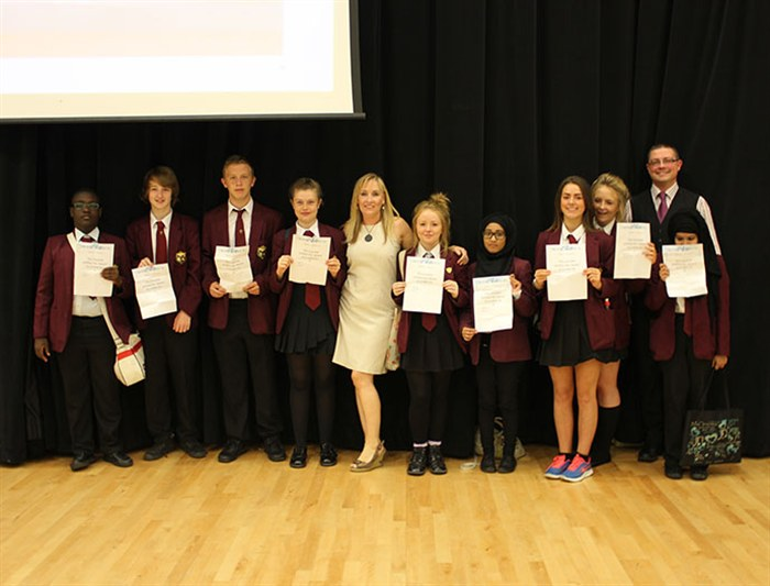 Food Service Lecturer, John Holden and New Charter Academy teacher, Gaynor Duffy present students with their certificates