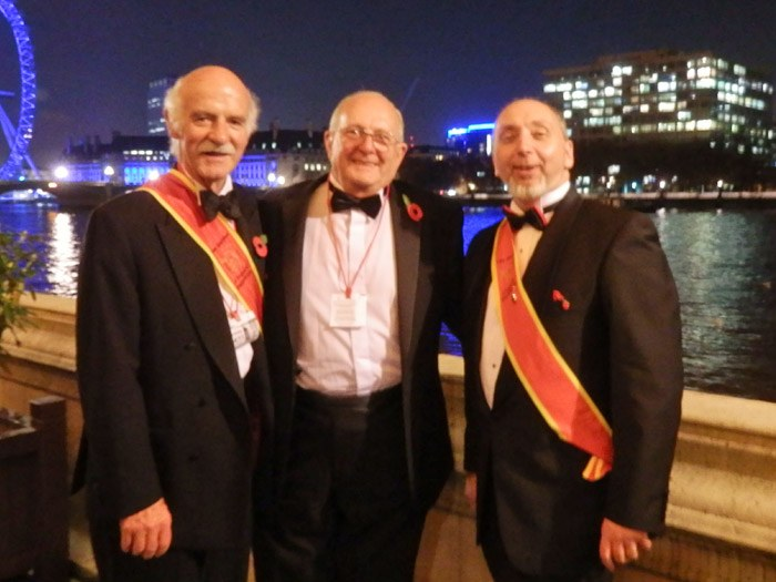 Anton Mosimann (left) pictured with Peter J Cooke (right)and his father (middle).