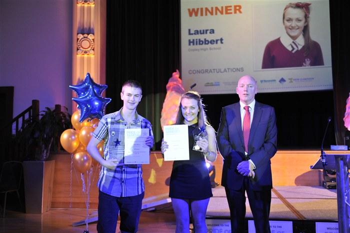Ben Moss & Laura Hibbert receiving the High School Student of the Year – Year 10 Award.