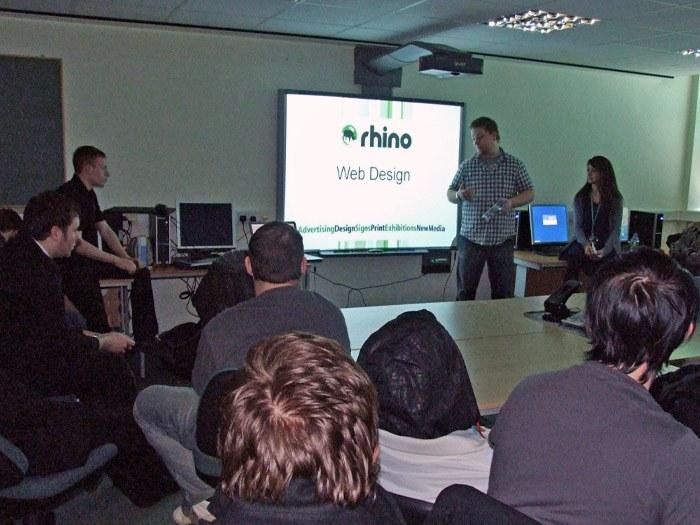 Jonny Turner presenting at Tameside College