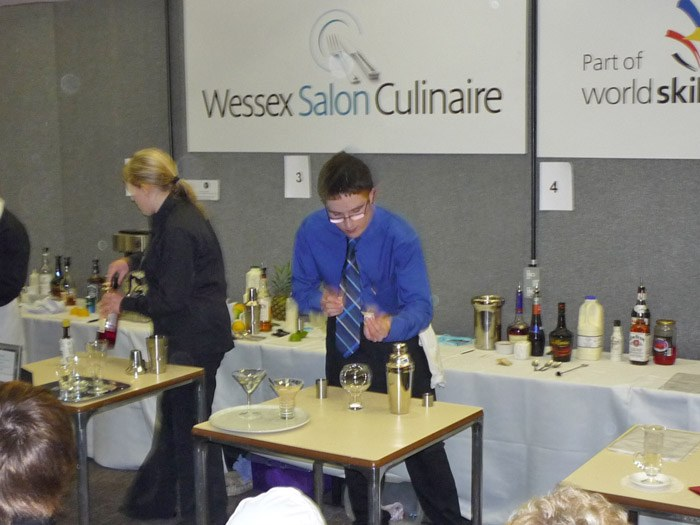 Sam Brown working on his Bronze medal in Cocktail Making