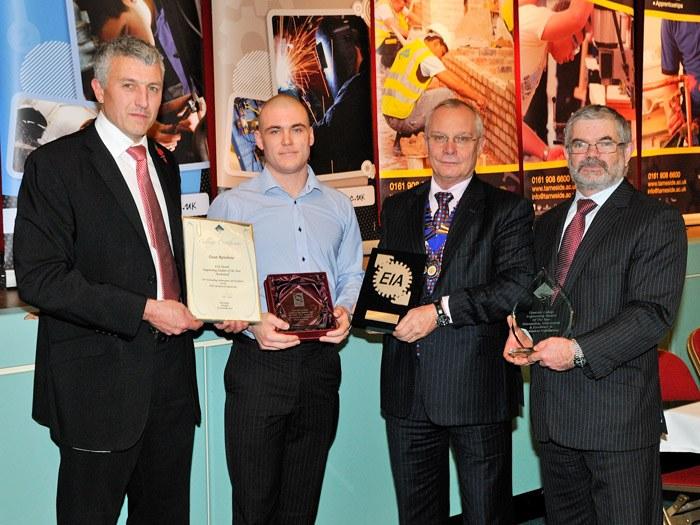 Dean Renshaw receiving his award