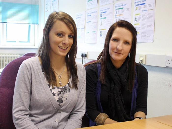Two of the successful students; Kerry Farson and Christina Leigh