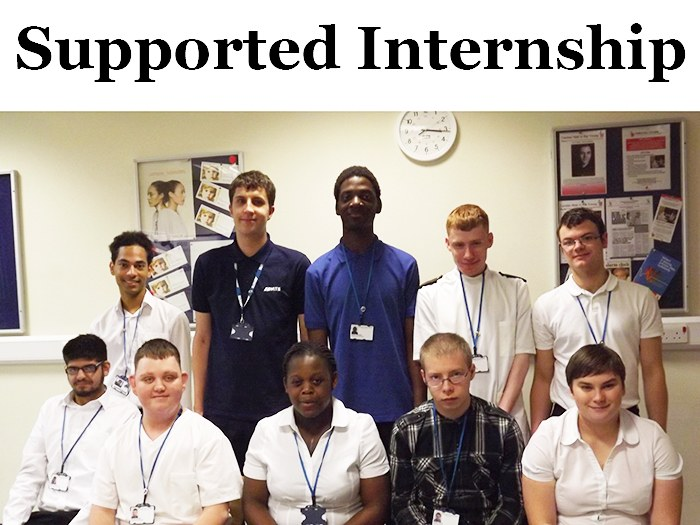 Tameside College students working at Tameside Hospital.