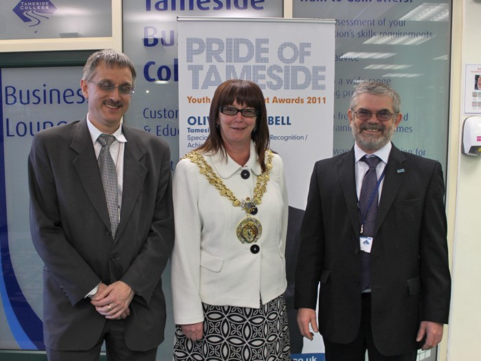 Left to right: Governor John Lyne, The Worshipful Civic Mayor of Tameside, Councillor Susan Quinn and Principal Peter Ryder