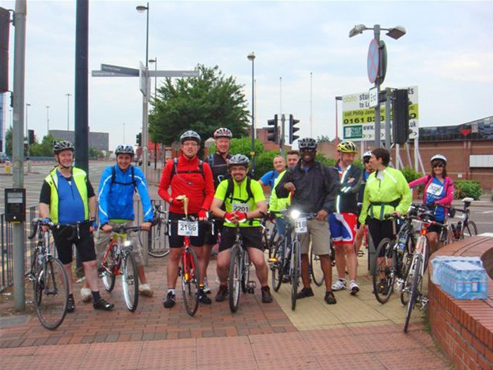 The cycle team ready to start the challenge.