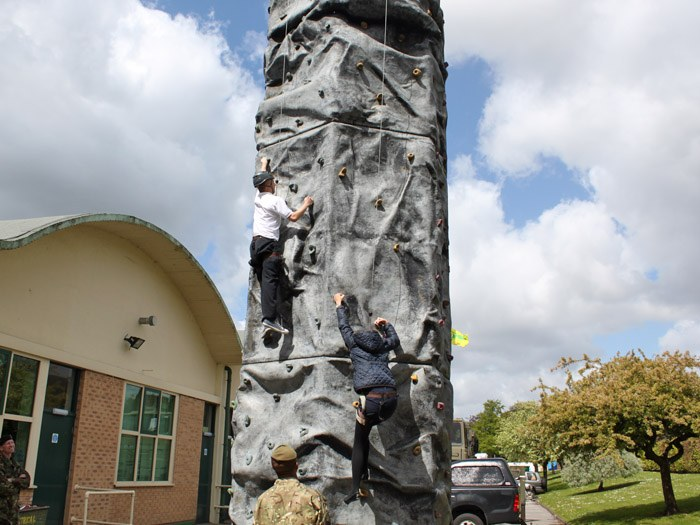 The Territorial Army climbing wall
