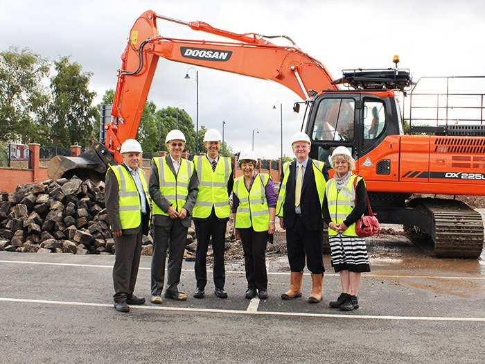Hard hats at the ready! Tameside College and Tameside Council go to view new development site as work gets underway on the new Sixth Form College due to be open September 2015